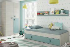 Pack muebles dormitorio juvenil cama nido estante y armario ropero 90x190 cm