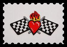 Patch,Racing Flag,Heart,Aufbügler,Aufnäher,Badge,V8,Rockabilly