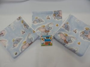 Dumbo Burp Cloths x 3 Toweling Backed 100% Cotton GREAT GIFT IDEA!!