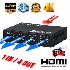 1 in 4 out Full HD HDMI Splitter 4 Port Hub Repeater Amplifier v1.4 3D 4K 1080p