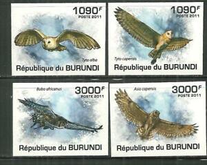 BURUNDI 887-90 MNH OWLS IMPERF SCV 15.00