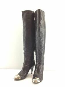 Authentic CHANEL Knee-high boots rong boots Metal toe black Size 37 1/2 #6319A