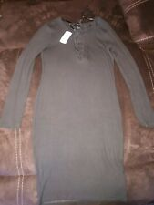 Forever 21 Olive Knee Length Dress With lace up detail Size Large New with tags