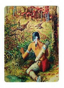 American Indian Warrior and Pheasants - Modern Wide Linen Swap Playing Card