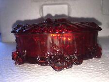 Fenton, Vintage Ruby Red Oval Lidded Trinket / Candy Dish