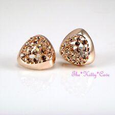 Rose Gold Plated Geometric Triangular Huggie Stud Earrings w/ Swarovski Crystals