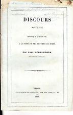 C1 Abel DESJARDINS Discours FACULTE DIJON 1847 Dedicace ENVOI Douai Lille