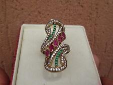 anello in argento 925 stile antico rubini smeraldi zaffiri brillanti