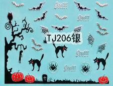 Halloween Silver Tree Branch Bats Cats Pumpkin Webs 3D Nail Art Sticker Decals