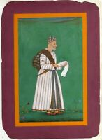 Hand Painted Indian Miniature Portrait Of Mughal King On Paper Finest Painting