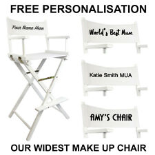 White Premium Tall Portable Folding Makeup Artist Chair with FREE PERSONALISATIO