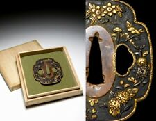 MINO-School Flower KINKO TSUBA Shakudo Gold Japanese Original Edo Sword Antique