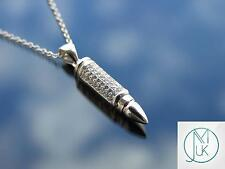 Sterling Silver 925 Bullet Pendant Necklace with Cubic Zirconia
