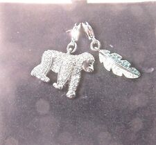 SWAROVSKI CRYSTAL RHODIUM-PLATED GORILLA AND CHARM SET WITH CORD ARTICLE # 09824