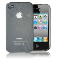 Circle Rubber TPU Gel Soft Case Cover Skin For Apple iPhone 4 4G 4S Black