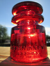 Vintage Hemingray T.S. Cd 129 Glass Insulator Colored / Stained Garnet Red