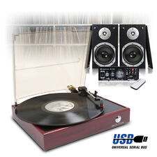 LP Vinyl Record Player, Home Hi-Fi Stereo Speakers and Amplifier USB/FM/SD Set