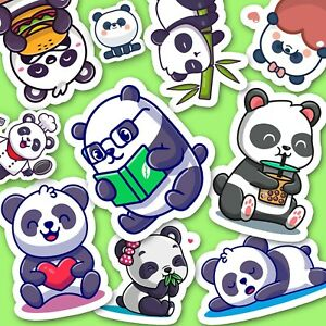 Kawaii Panda Stickers - Cute Journaling Stickers, Diary Stickers, Cute Animal