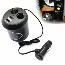 2 Way Car Cigarette Lighter Dual Socket Splitter Charger Power Adapter DC+USB 5V