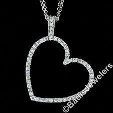 14K Oro Blanco 1.50ctw Pinza Diamante Grande Colgante Corazón Abierto & Doble