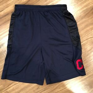 MLB Youth L Shorts Blue Cleveland Indians Shorts Stitched C