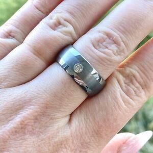 Triton Men's Diamond Accent Tungsten Carbide Band Ring Size 8.5-9