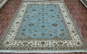 4'x6'| 5'6x8'|6'6x9'6 Rug | Hand Knotted Wool-Silk Lt Blue -Ivory Area Rug