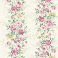 Sweet Rose~Small Cabbage Rose Bouquets Border White - Cotton Quilt Gate Fabric