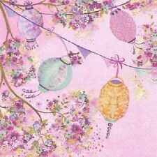 3 Paper Napkins for Decoupage / Tea Parties / Weddings - Lanterns on Pink