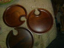Lot Of 3 Round Wooden Trays