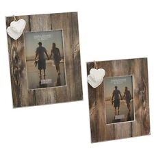 Decor - Photo Frame - Distressed Wood Look - Heart Attachments - Choose Size