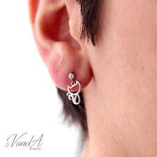 Sterling silver 925 Cat Earrings Little Kitty Post Earring Animal CZ Jewelry E37