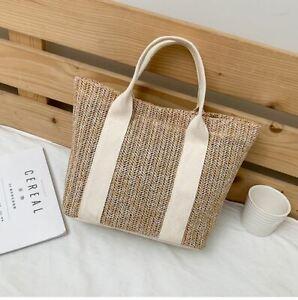 Women Straw HandBags summer Beach Large Capacity Tote Bag Luxury Bolsa Beige