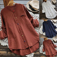 Womens Long Sleeve Blouse Loose Button Linen Tunic T-Shirt Ladies Casual Tops US