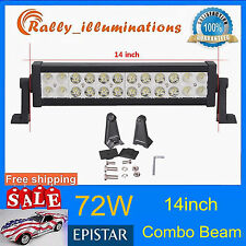 72W 14'' LED Work Light Bar SPOT FLOOD Driving SUV Boat Truck Offroad 12/24V USA