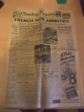 OLD VINTAGE repro NEWSPAPER 1940s dispatch 23 JUNE 1940 WW2 french armistice
