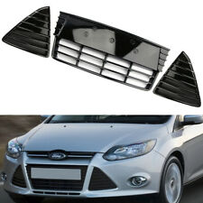 FOR FORD FOCUS MK3 GLOSS BLACK FRONT BUMPER LOWER GRILLES LEFT RIGHT TRIMS PANEL