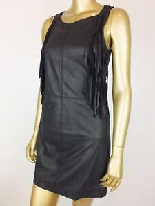 SPORTSGIRL BLACK LEATHER BOHO FRINGED MINI Skirt Dress 8 FESTIVAL PARTY