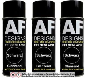 Felgenlack schwarz glanz 3x Lackspray Felgenspray Lack hochglanz Lack Spray