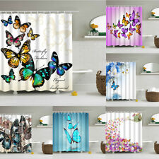 Flower Butterfly 3D Printed Shower Curtain Waterproof Polyester Fabric With Hook