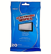Electronic Cleaner, Flat Pack Wipes no residue streak free shine 20 wipes/pack