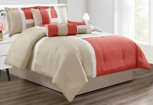 GrandLinen 7 Piece Oversize King Bedding Coral/Grey/White Color Block Emma Comfo