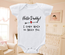Pregnancy Announcement Onesie Shirt Hello Daddy Can't Wait To Meet You 0-3 month