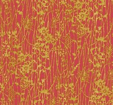 Wallpaper Designer Abstract Gold Faux Leaf and Floral on Red