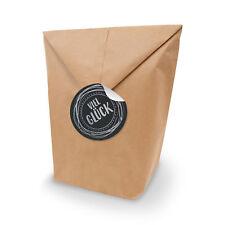SET Viel Glück 10x Geschenktüten XL Kraftpapier +Aufkleber  silber schwarz
