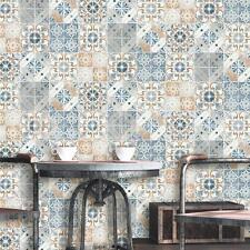 Debona Geometric Tile Orange/Blue Wallpaper - 5011