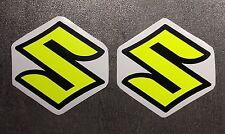 ADESIVI-SET 2 pezzi SUZUKI GSXR GSX-R 600 750 1000 emblema-Nero-Giallo Neon