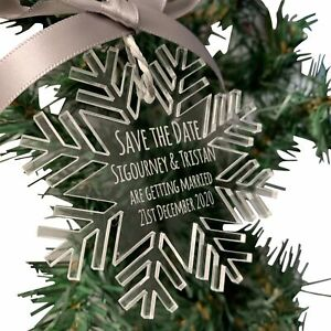 Jajo clear acrylic snowflake save the date decoration, Chritmas wedding, winter