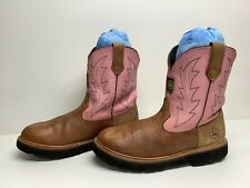 Vtg Womens John Deere Cowboy Brown Boots Size 6 M