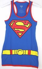 DC Comics Womens Supergirl Character Blue Red Junior Sleeveless Tank Dress Large
